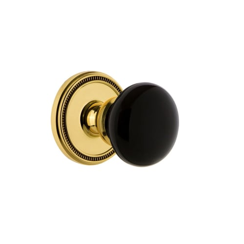 Grandeur SOLCOV_PRV_234 Soleil Solid Brass Rose Privacy Door Knob Set with Coven