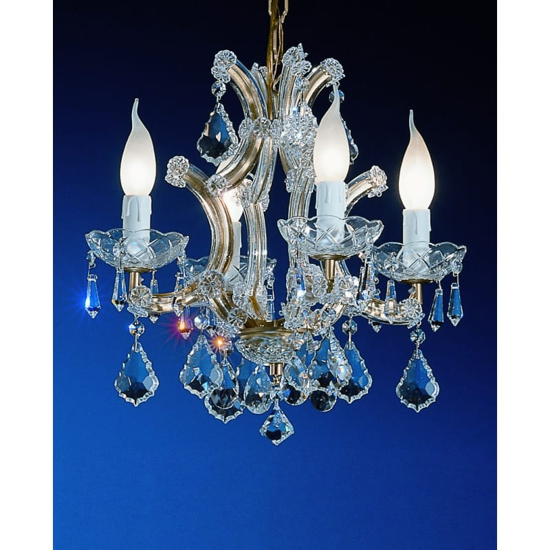 16 LIGHT CHANDELIER WITH BLUE AND BOHEMIAN CRYSTALS