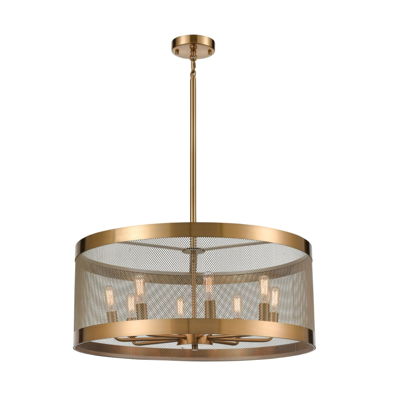 Line in the Sand 8 Light Chandelier in Satin Brass and