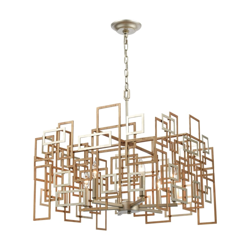 Six Light Weathered Silver Up Chandelier