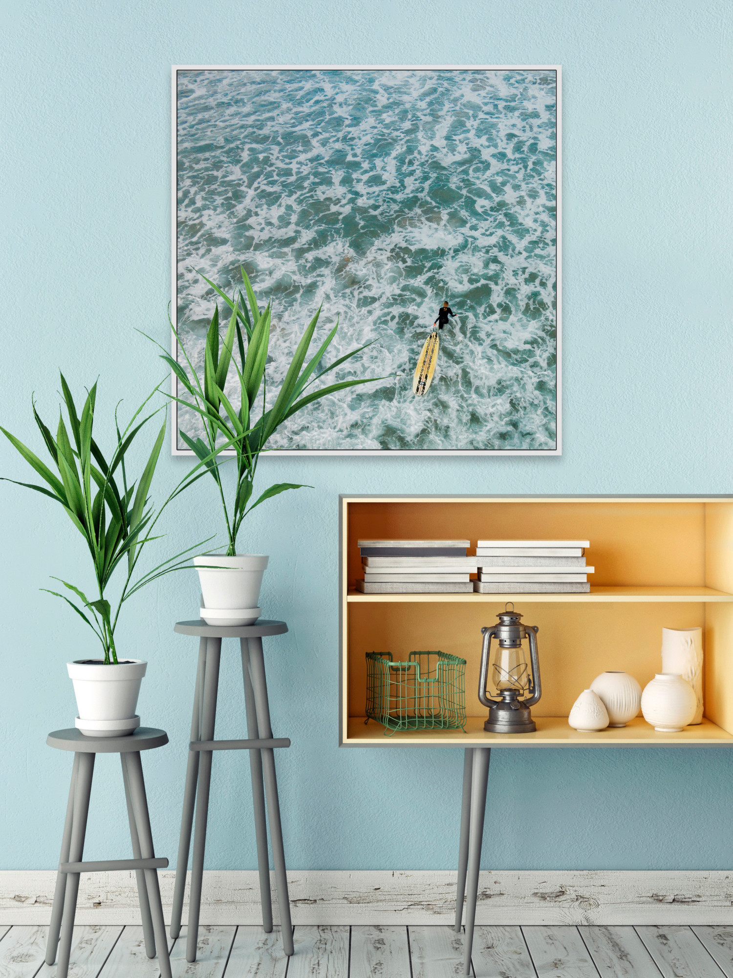 Marmont Hill MH-KARJAN-190-WFF-48 48 Inch Inch Inch x 48 Inch  Choppy Waters  Framed Gicle 890977