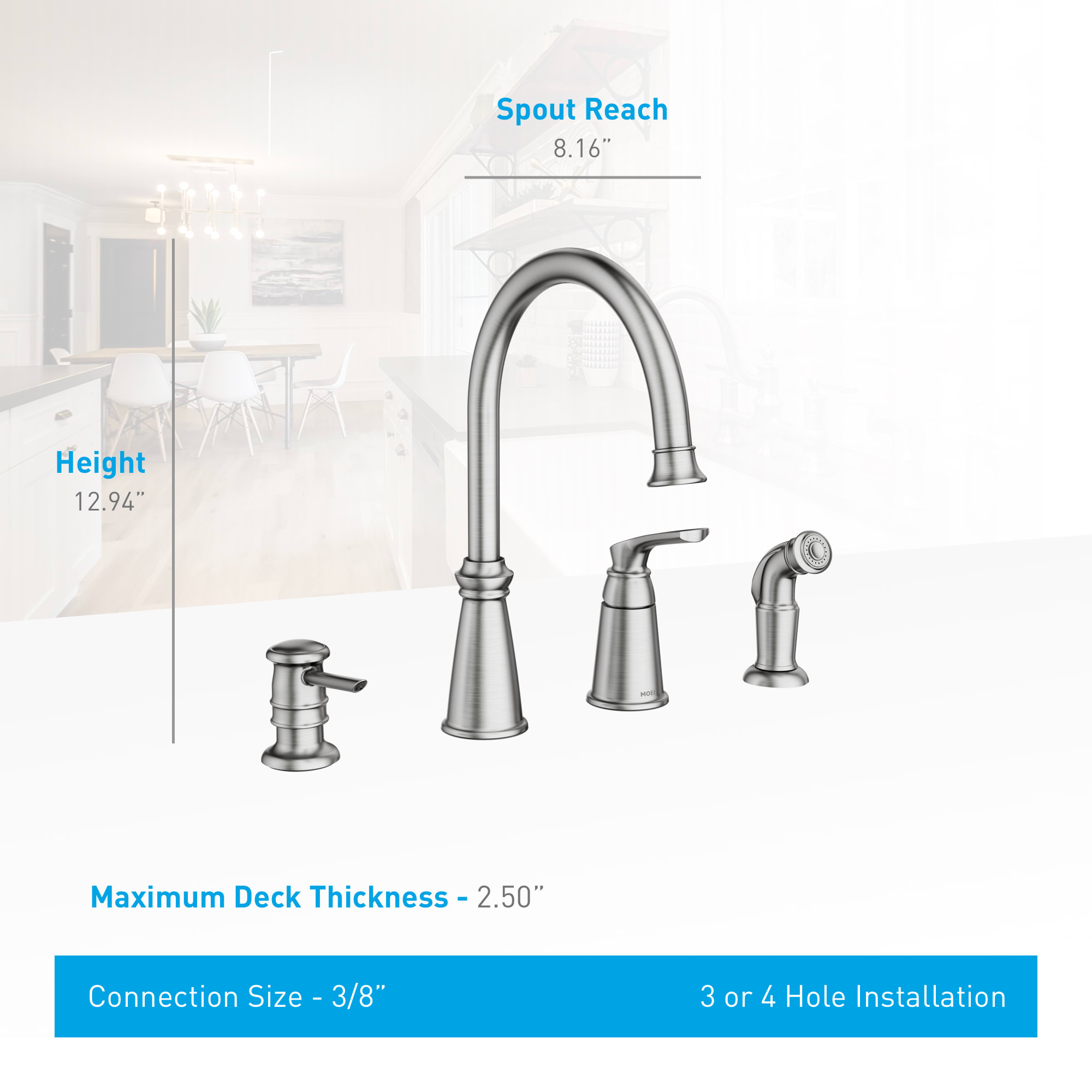 Moen 87044srs Spot Resist Stainless Whitmore Single Handle High Arch Kitchen Faucet With Side Spray And Soap Dispenser Faucet Com