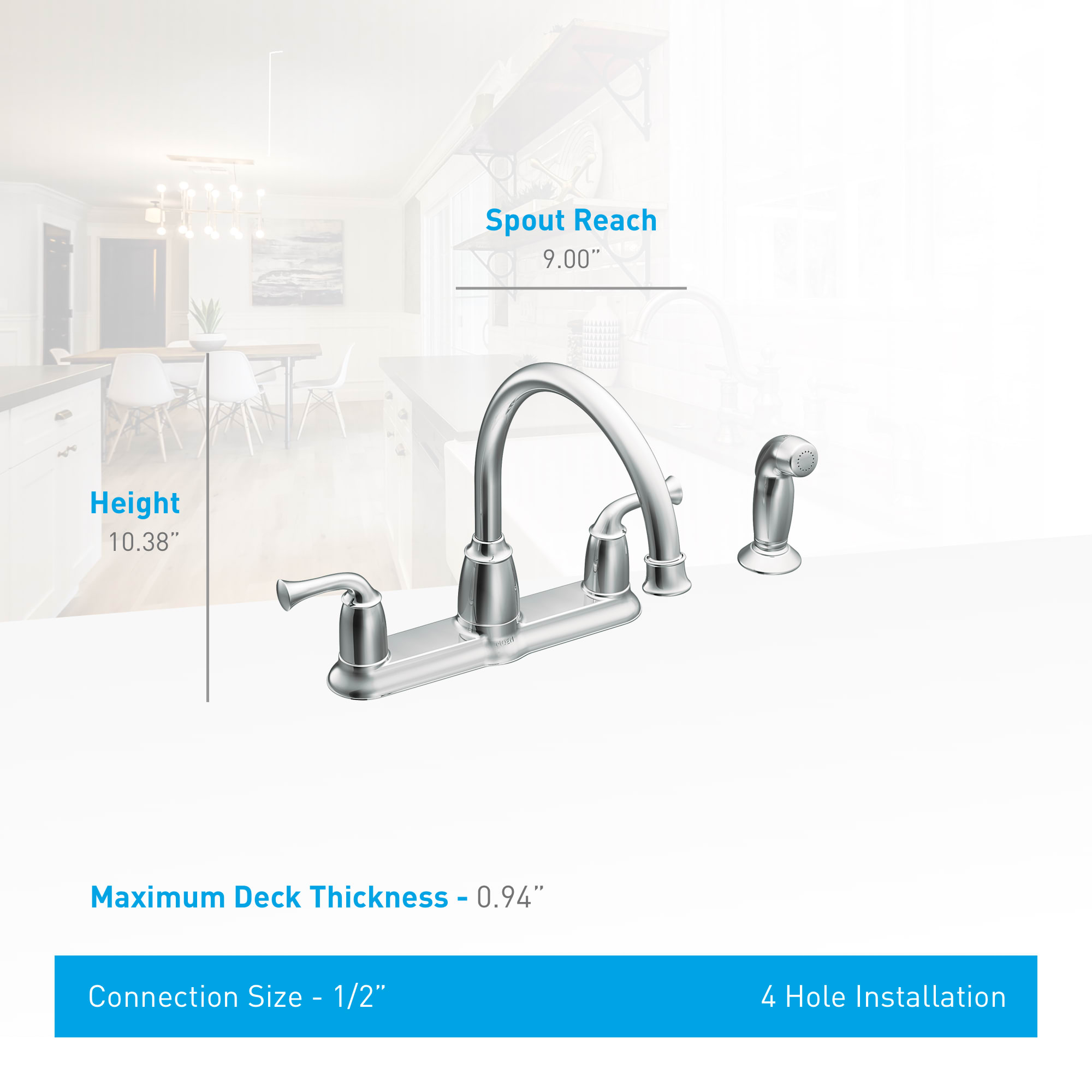 Moen Ca87553 Chrome Banbury High Arc Kitchen Faucet With Side