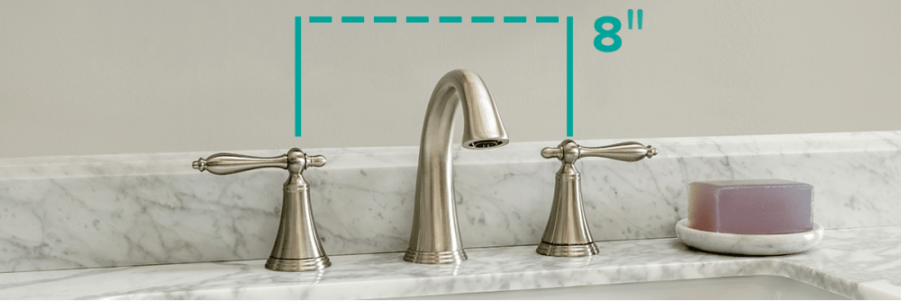 Miseno Santi-B Widespread bathroom faucet with a brushed nickel finish.