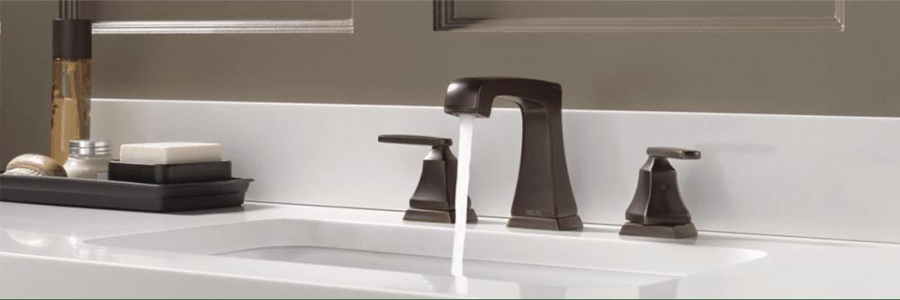 Delta Ashlyn widespread double handle faucet in venetian bronze.