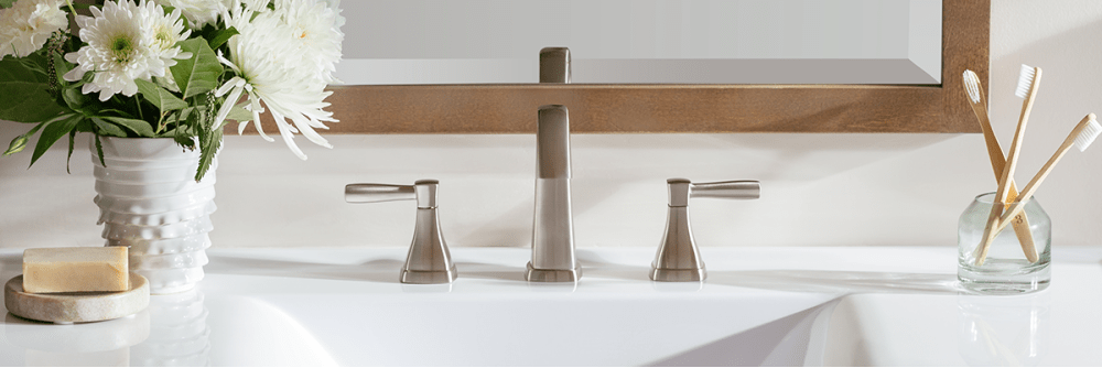Miseno Elysa-V widespread faucet in brushed nickel finish w/ lever handles.