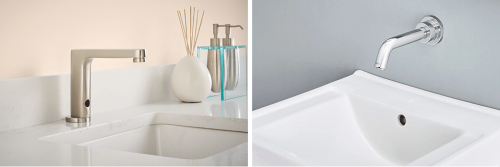 American Standard Serin touch free faucet in brushed nickel.