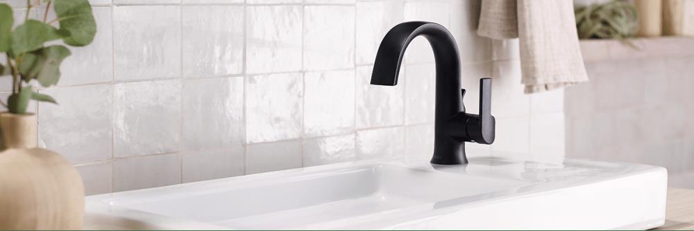 Moen Doux single hole faucet in matte black.