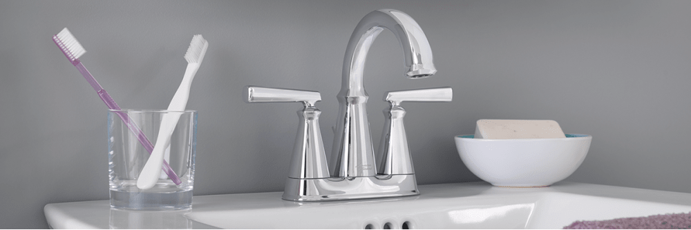 American Standard Edgemere centerset faucet in polished chrome finish.