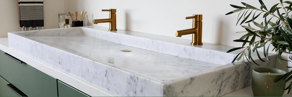 Moen Align single hole bathroom faucet, single handle, brushed gold finish.