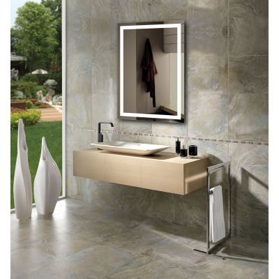 Miseno Mm2028ledr Mirrored 20 Quot W X 28 Quot H Rectangular Frameless Wall Mounted Mirror With Led